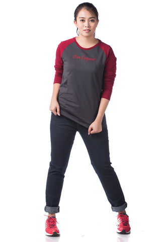 B.U.M Equipment Ladies Round Neck-Raglan L/S (DK GREY)