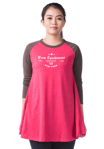 B.U.M Equipment Ladies Round Neck-Raglan L/S (MD RED)