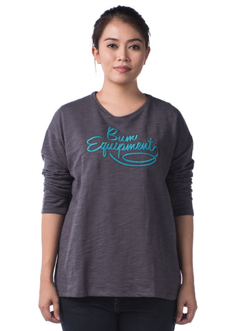 B.U.M Equipment Ladies Round Neck Tee L/S (MD GREY)