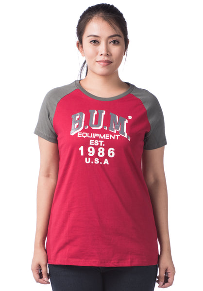 B.U.M Equipment Ladies Round Neck-Raglan S/S (DK RED)