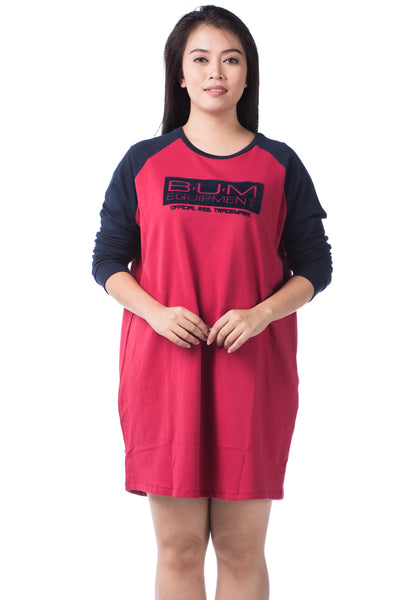 B.U.M Equipment Ladies  Dress L/S (MD RED)