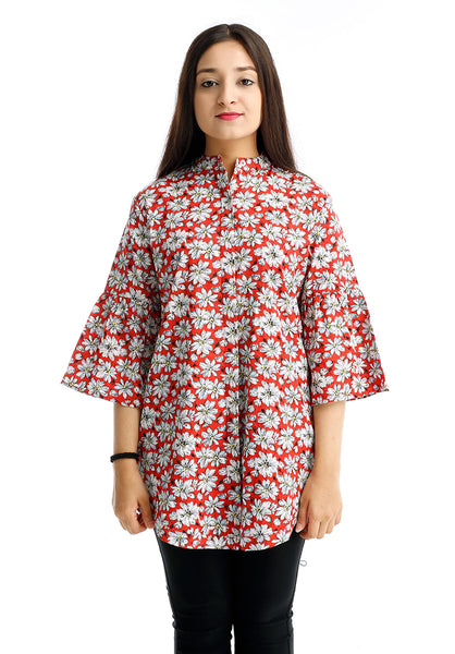 B.U.M Equipment Ladies Woven Blouse L/S (MD RED)