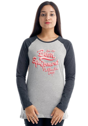 Copy of B.U.M Equipment Ladies Round Neck-Raglan L/S (DK GREY)