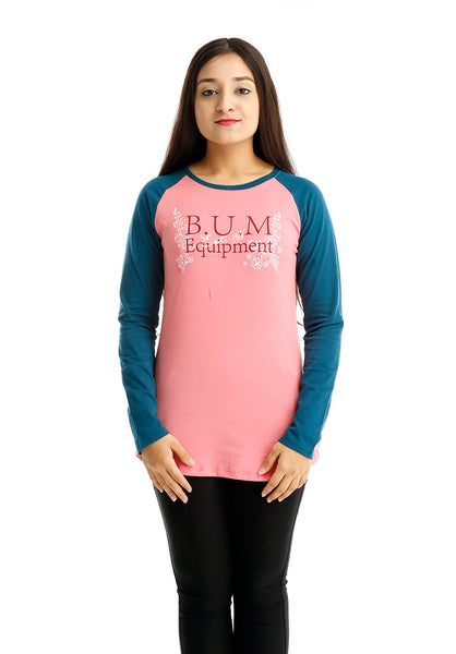 B.U.M Equipment Ladies Round Neck-Raglan L/S (MD PINK)