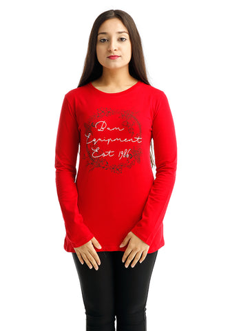 B.U.M Equipment Ladies Round Neck Tee L/S (MD RED)
