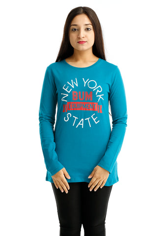 B.U.M Equipment Ladies Round Neck-Raglan L/S (MD Turquoise)