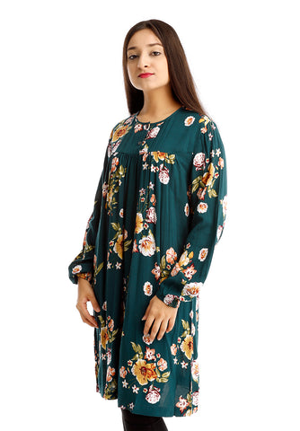 B.U.M Equipment Ladies Woven Dress L/S (DK GREEN)