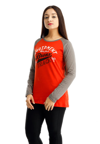 B.U.M Equipment Ladies Round Neck-Raglan L/S (MD ORANGE)
