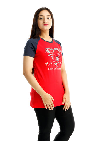 B.U.M Equipment Ladies Round Neck-Raglan S/S (MD RED)