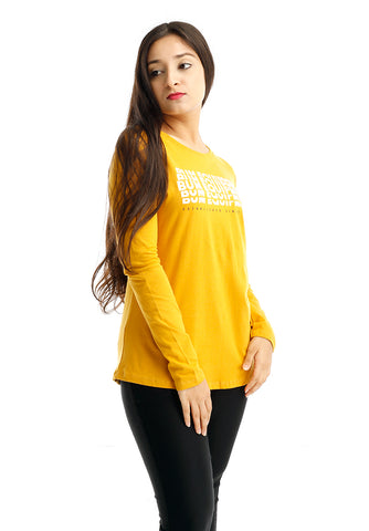 B.U.M Equipment Ladies Round Neck-Raglan L/S (DK YELLOW)