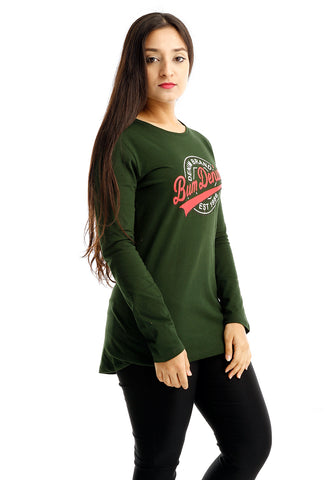 B.U.M Equipment Ladies Round Neck-Raglan L/S (DK GREEN)