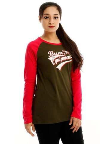 B.U.M Equipment Ladies Round Neck Tee L/S (DK GREEN)