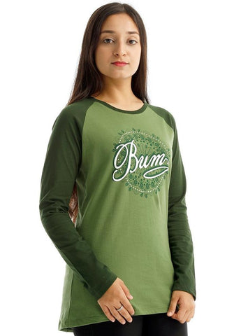 B.U.M Equipment Ladies Round Neck-Raglan L/S (LT GREEN)