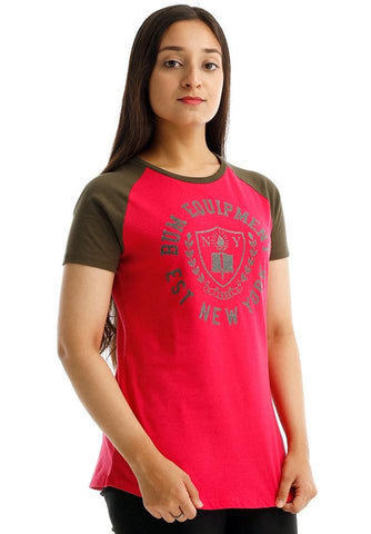 B.U.M Equipment Ladies Round Neck-Raglan S/S (DK PINK)