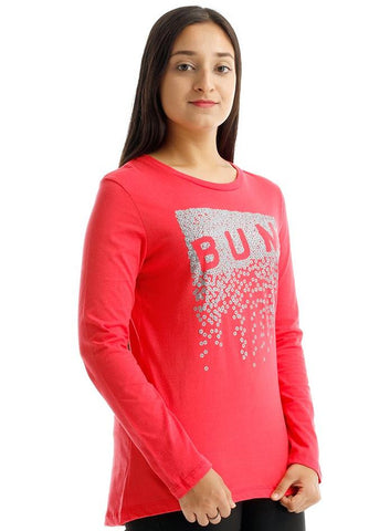 B.U.M Equipment Ladies Round Neck-Raglan L/S (LT PINK)