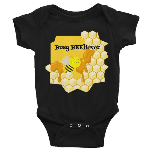 Busy Bee working with honey, BEEliever Believer Infant Bodysuit