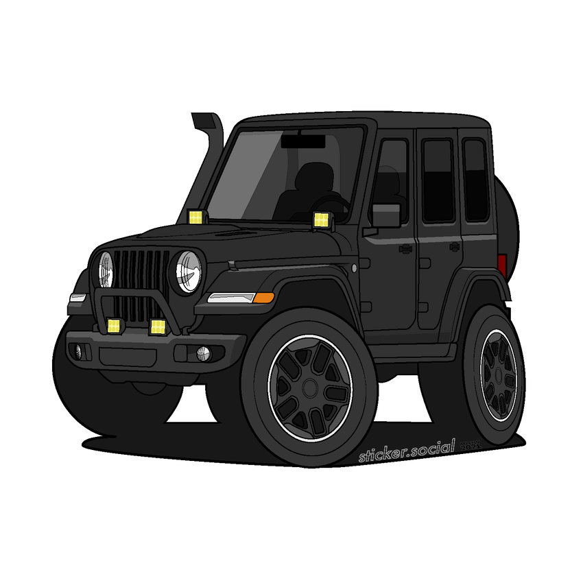 Black 4 door Jeep Wrangler sticker with snorkel, brush guard, and aftermarket accessory lights