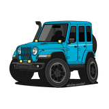 Blue 4 door Jeep Wrangler sticker with snorkel, brush guard, and aftermarket accessory lights