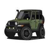 Green 4 door Jeep Wrangler sticker with snorkel, brush guard, and aftermarket accessory lights