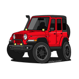 Red 4 door Jeep Wrangler sticker with snorkel, brush guard, and aftermarket accessory lights