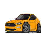 Sticker - Orange 2020 Mustang with Hard Top