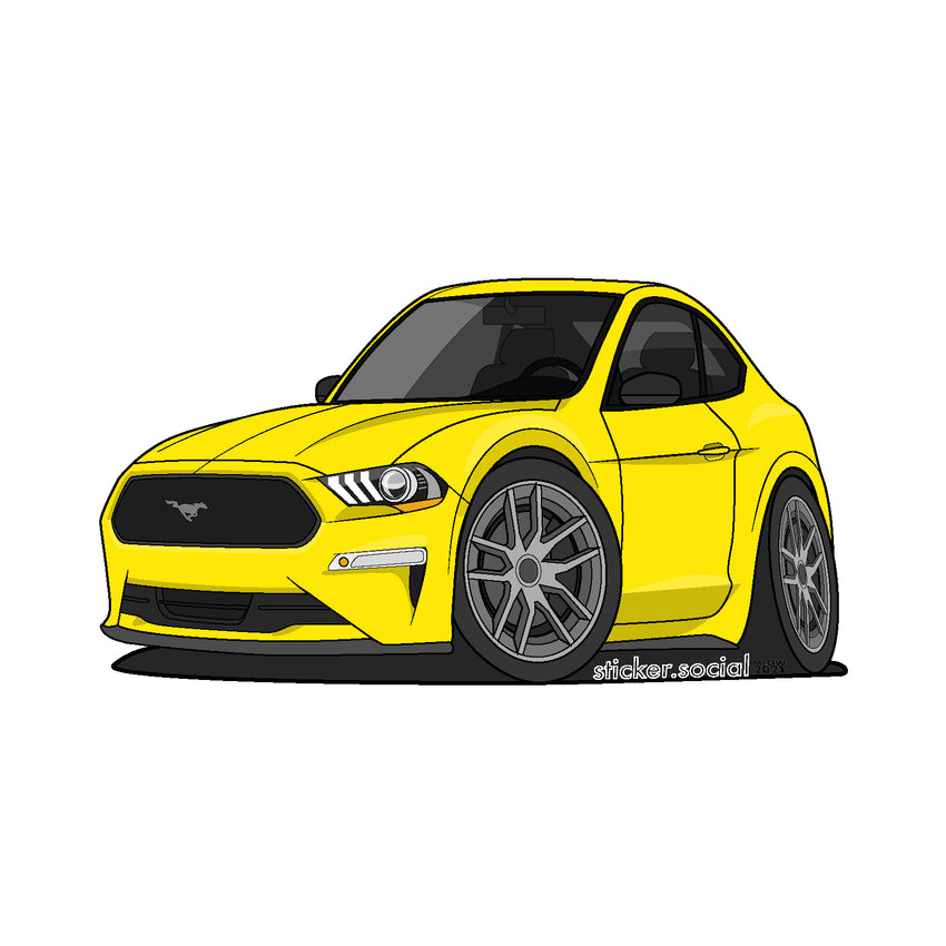 Sticker - Yellow 2020 Mustang with Hard Top