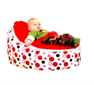 Babybooper Beanbag Soft Baby Cozy Baby Sitting Chair Nursery Pillow Safe (Cherry Bubble Fizzy) - Babybooper Beanbags