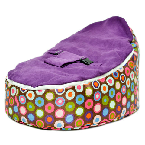 Image of Babybooper Beanbag Soft Baby Cozy Baby Sitting Chair Nursery Pillow Safe. (Booper Purple Top Bubble Gum Drop - Babybooper Beanbags