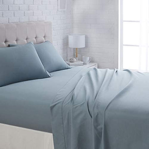 "Image of Basics Lightweight Super Soft Easy Care Microfiber Bed Sheet Set with 16"" Deep Pockets - Twin, Aqua Fern: Home & Kitchen"