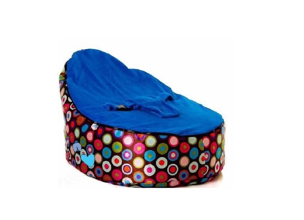 Babybooper Beanbag Soft Baby Cozy Baby Sitting Chair Nursery Pillow Safe (Blue Top Fizzy)