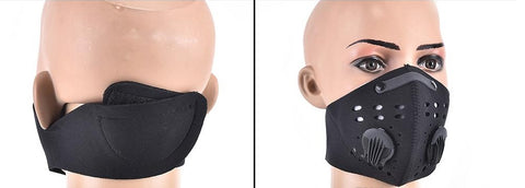 Image of Cycling Half Face Mask PM 2.5 Carbon Filter Two Exhale Valves Dust-Proof Anti Pollution Smog Face Mask Sport Cover Shield