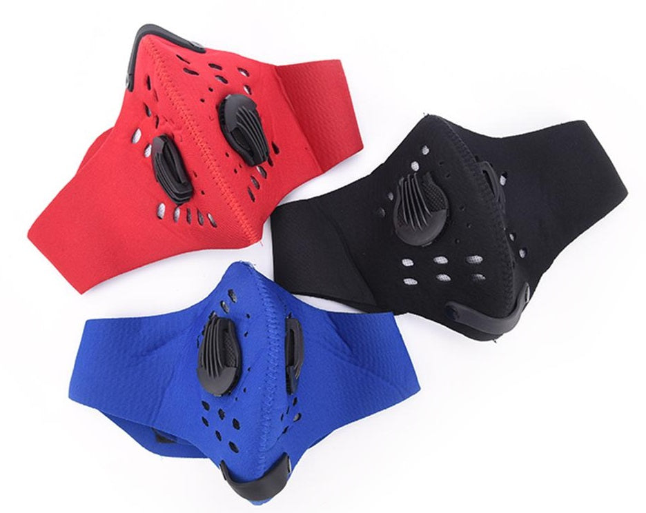 Cycling Half Face Mask PM 2.5 Carbon Filter Two Exhale Valves Dust-Proof Anti Pollution Smog Face Mask Sport Cover Shield