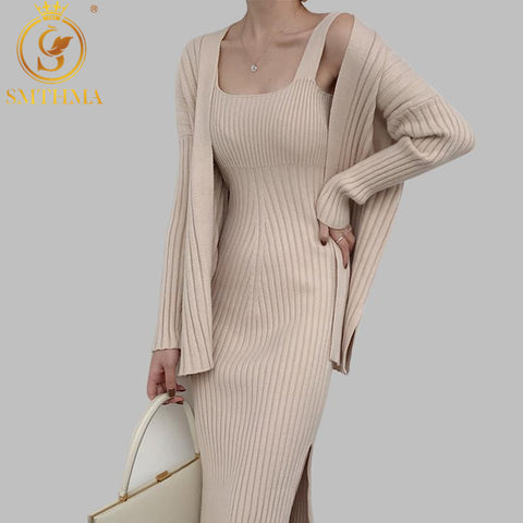 Image of 2020 New High quality winter Women's Casual Long Sleeved Cardigan + Suspenders Sweater Vest Dress Two Piece Runway  Dress Suit