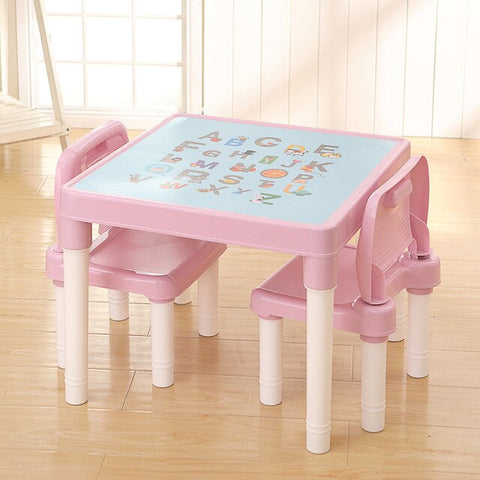 Image of Folding Children Table Chair Baby Learning Tables Chair Set Children Plastic Table Toy Game Table Kids Desk Cute