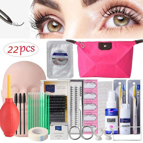 Image of 17/22Pcs Beginner Professional False Eyelashes Extension Training Mannequin Makeup Training  Practice Kits Tool