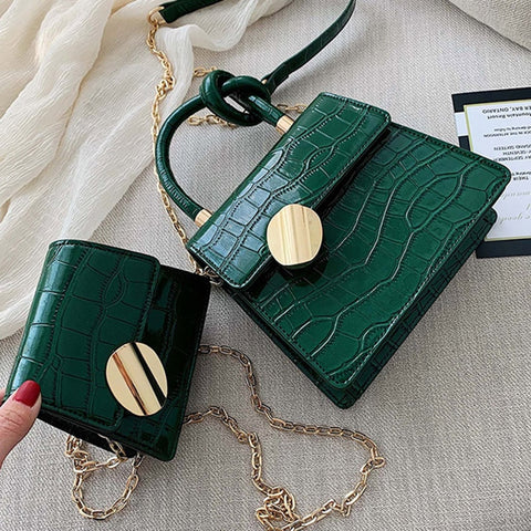 Image of Quality Stone Pattern Leather Crossbody Bags For Women Designer Small Handbags Chain Shoulder Messenger Bag Mini Purses Hand Bag