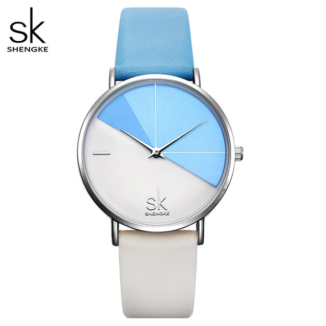 Shengke Women's Watches Fashion Leather Wrist Watch Vintage Ladies