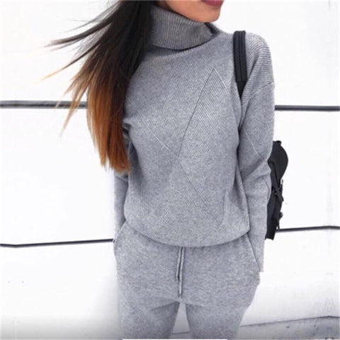Image of Sportswear High Collar Sweater Knit Pants Suit Casual Women's Two-Piece Suit
