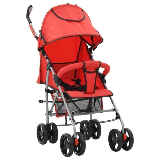VidaXL Stroller / Pram 2-In-1 Red Steel High Quality Foldable Pram With Adjustable Seat And Footrest Double Locking System