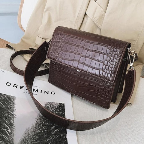 Image of Women's Designer Luxury Handbag 2020 Fashion New High quality PU Leather Women Handbags Crocodile pattern Shoulder Messenger Bag