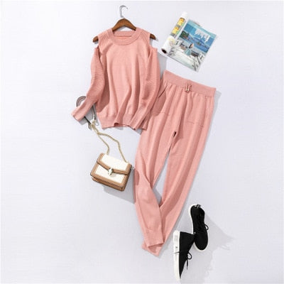 Sportswear High Collar Sweater Knit Pants Suit Casual Women's Two-Piece Suit