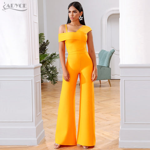 Adyce 2020 New Summer Orange Two Pieces Sets Sexy Spaghetti Strap Short Sleeve Top & Long Pants Women Fashion Club Party Sets