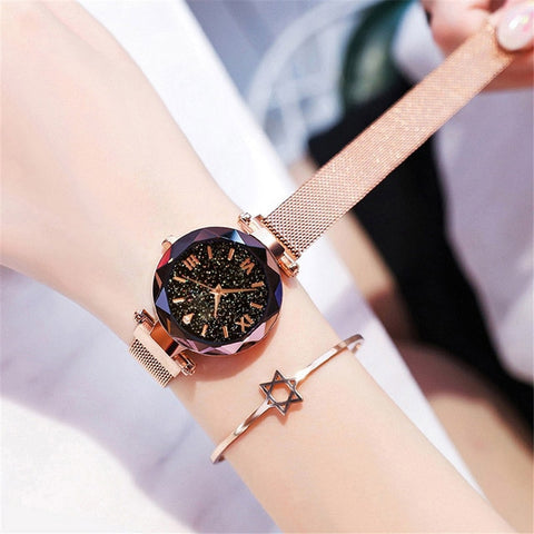 Image of Ladies Watch Women Watch Magnetic Starry Sky Clock Quartz Wristwatch Women Watches
