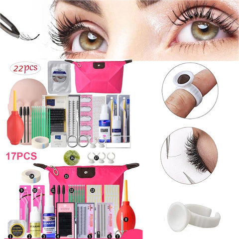 17/22Pcs Beginner Professional False Eyelashes Extension Training Mannequin Makeup Training  Practice Kits Tool