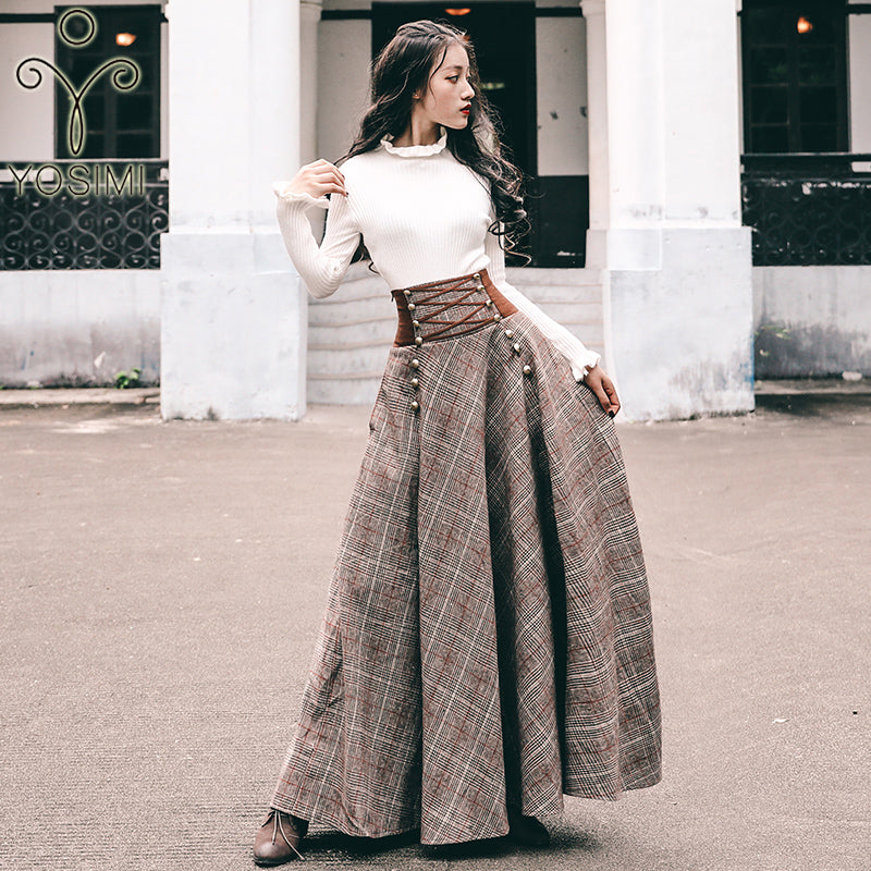 YOSIMI 2020 Sweater Skirt Set Full Sleeve Blouse Top and Woolen Plaid Skirt and Top Set Women Two Piece Outfits