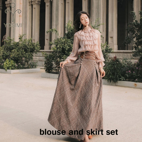 Image of YOSIMI 2020 Sweater Skirt Set Full Sleeve Blouse Top and Woolen Plaid Skirt and Top Set Women Two Piece Outfits