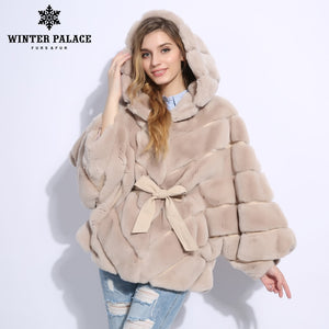 2018 Winter fur coat Fashion new rabblt fur coat Casual rex rabblt fur coat Solid real rex rabblt fur coat O-Neck WINTER PALACE