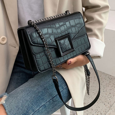 Image of Stone Pattern PU Leather Crossbody Bags For Women 2020 Small Shoulder Messenger Bag Female Luxury Chain Handbags and Purses