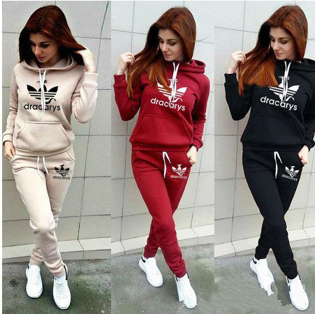 2019 Winter Casual Letter Print Long Sleeve Pullover Women Tracksuit 2 Piece Set Two Piece Pants Set Ladies Sweatsuit Streetwear