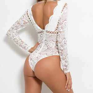 Women Black White Lace Club Suit